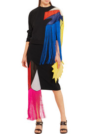 Fringed crochet-paneled stretch-crepe skirt