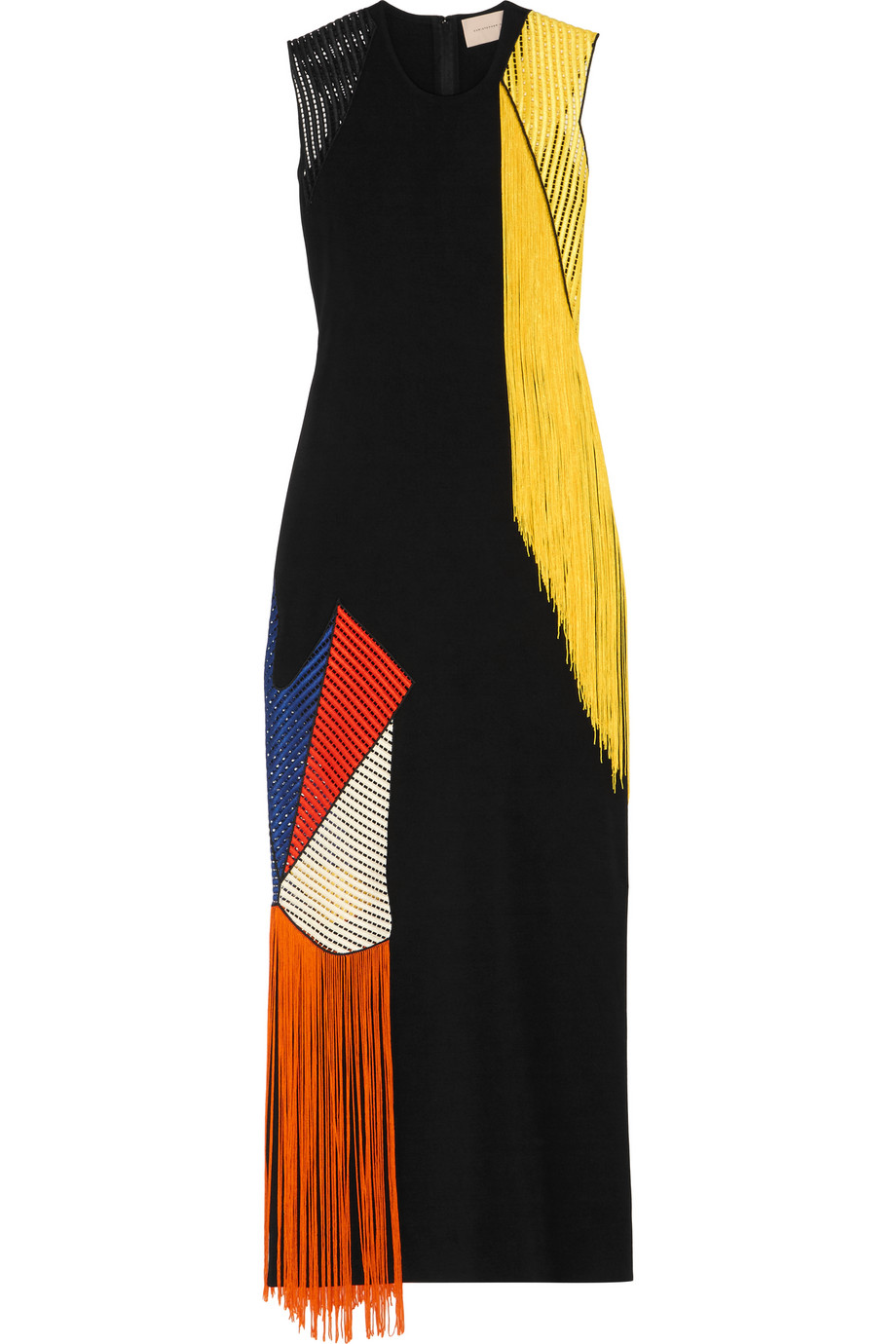 Fringed Crochet-Paneled Stretch-Crepe Maxi Dress, Christopher Kane, Black, Women's, Size: 10