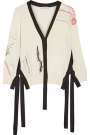Two-tone embroidered cotton cardigan