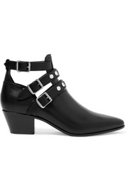 Cutout glossed-leather ankle boots