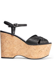 Saint Laurent Candy textured-leather cork wedges