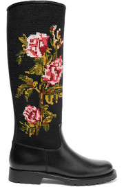Leather and embroidered canvas rain boots