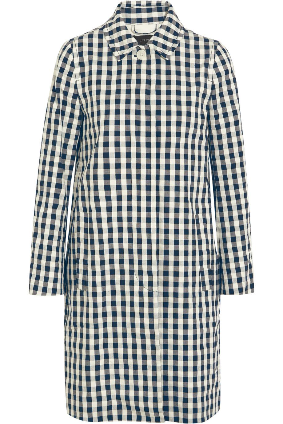 J.Crew Gingham Cotton Trench Coat, Navy, Women's, Size: 10