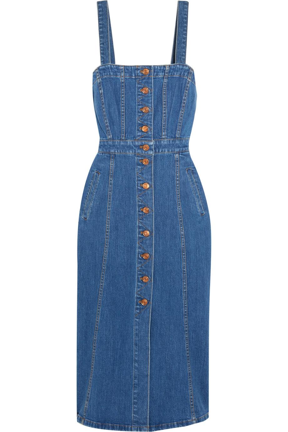 J.Crew Stretch-Denim Midi Dress, Mid Denim, Women's, Size: 10