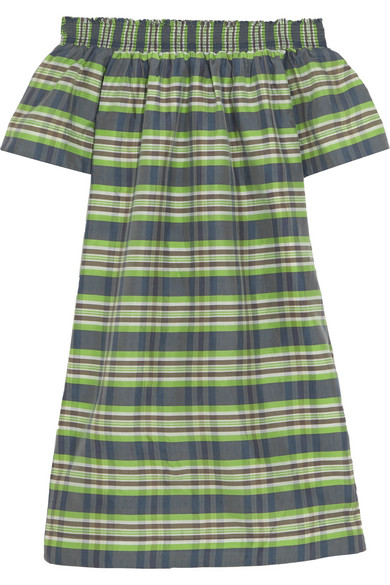 J.Crew - Collection Mistflower Off-the-shoulder Silk Mini Dress - Green