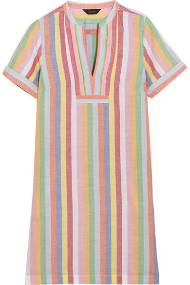 J.Crew - Quinlan Striped Cotton, Ramie And Linen-blend Mini Dress - Blue
