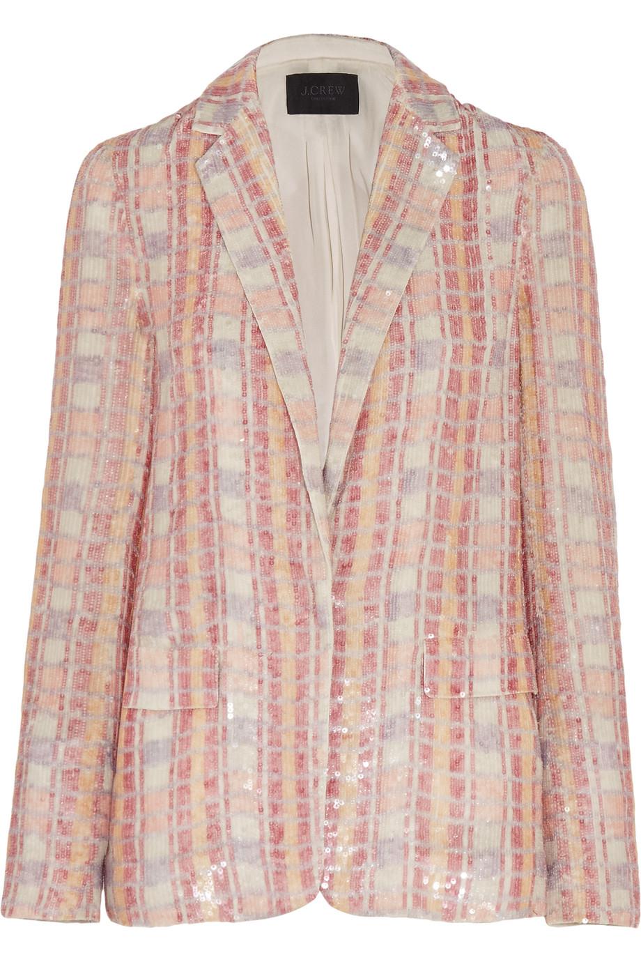 J.Crew Collection Sequined Silk-Georgette Blazer, Size: 4