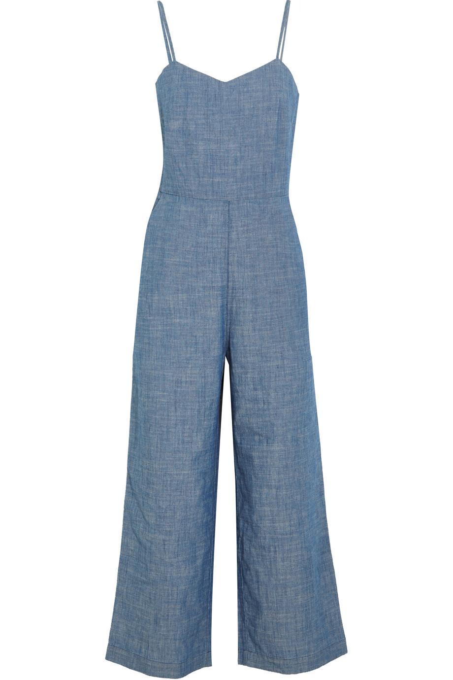 J.Crew Roadrunner Cotton-Chambray Jumpsuit, Blue, Women's, Size: 2