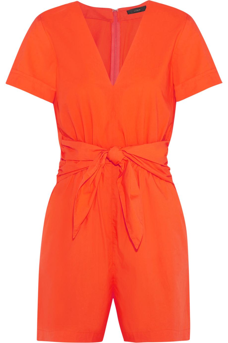 J.Crew Tessa Tie-Front Cotton-Poplin Playsuit, Bright Orange, Women's, Size: 12
