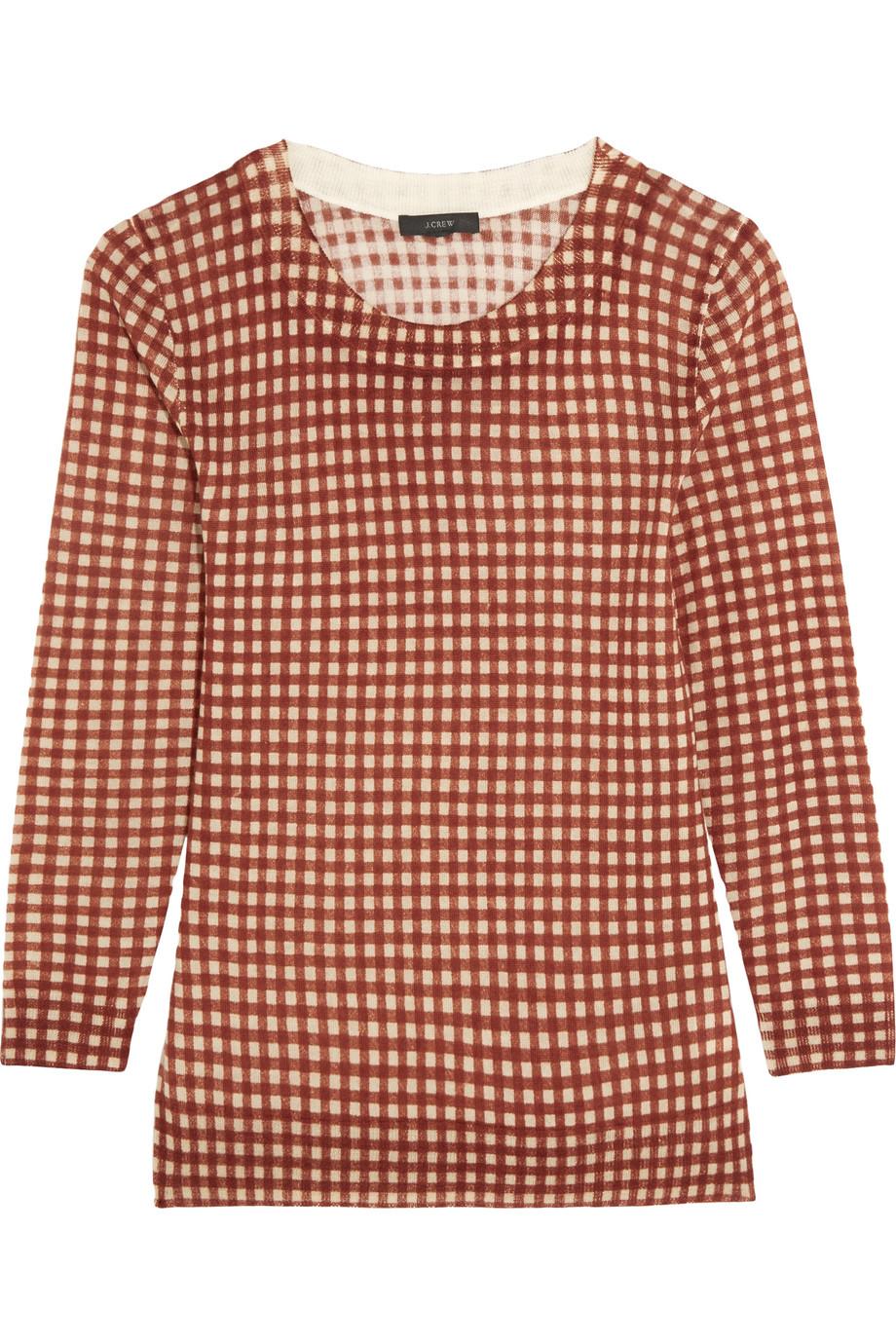 J.Crew Tippi Gingham Merino Wool Sweater, Size: XL