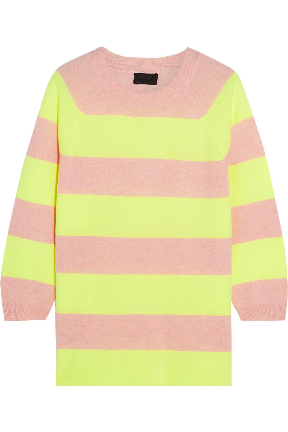 J.Crew Neon Striped Cashmere Sweater, Size: L
