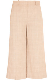 Collection plaid linen and cotton-blend culottes