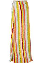 J.Crew Collection striped sequined silk-georgette maxi skirt