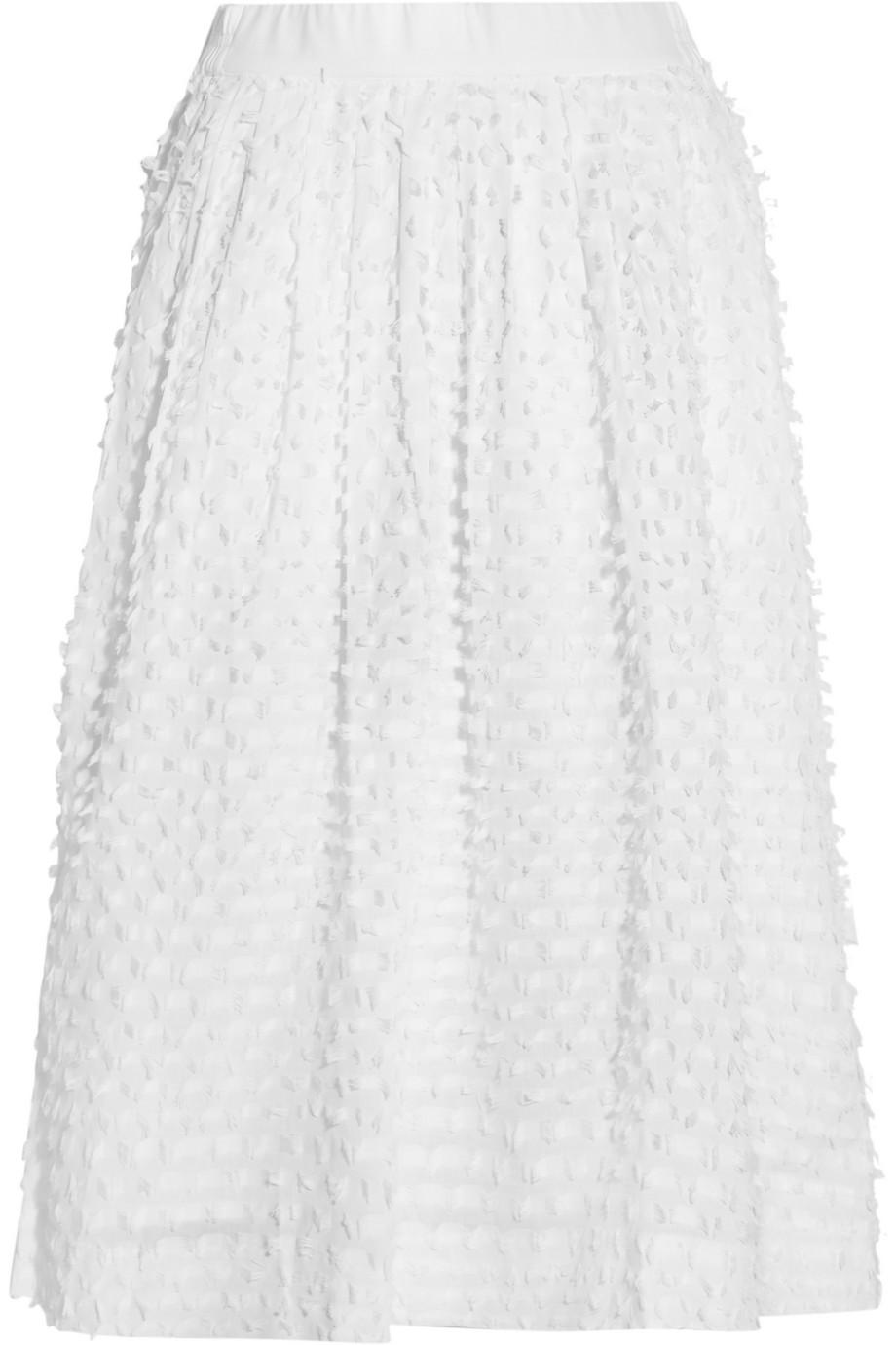 J.Crew Bradbury Fil Coupé Cotton Skirt, White, Women's, Size: 8
