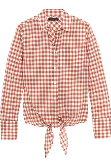 J.Crew - Tie-front Gingham Stretch-cotton Shirt - Brick