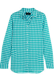 J.Crew Gingham crinkled cotton-blend poplin shirt