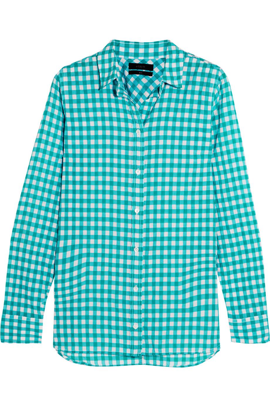J.Crew Gingham Crinkled Cotton-Blend Poplin Shirt, Teal, Women's, Size: 6