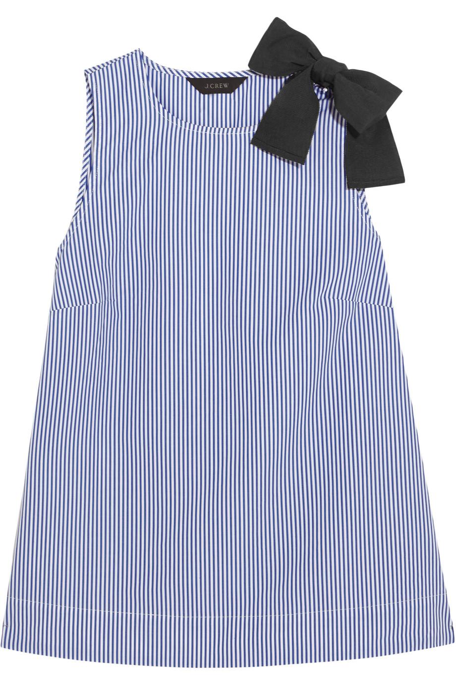 J.Crew Bow-Embellished Striped Cotton-Poplin Top, Blue, Women's, Size: 4