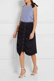 Bow-embellished striped cotton-poplin top