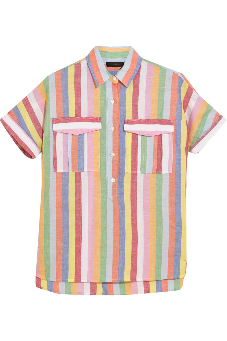 J.Crew Striped Cotton, Ramie and Linen-Blend Shirt, Pink/Mint, Women's, Size: 10