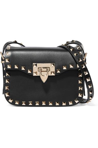 Valentino - The Rockstud Leather Shoulder Bag - Black