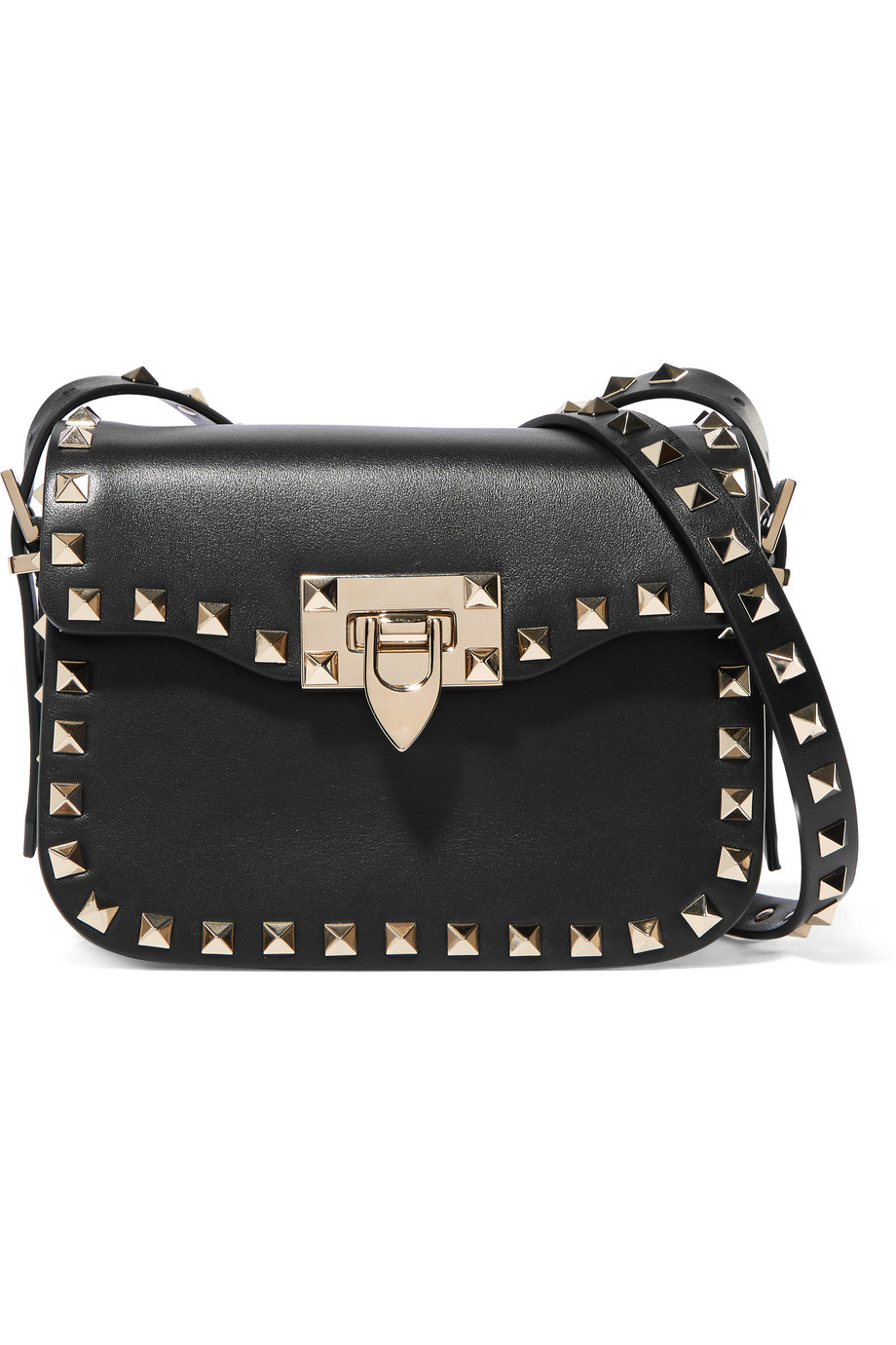 Valentino The Rockstud Leather Shoulder Bag, Black, Women's
