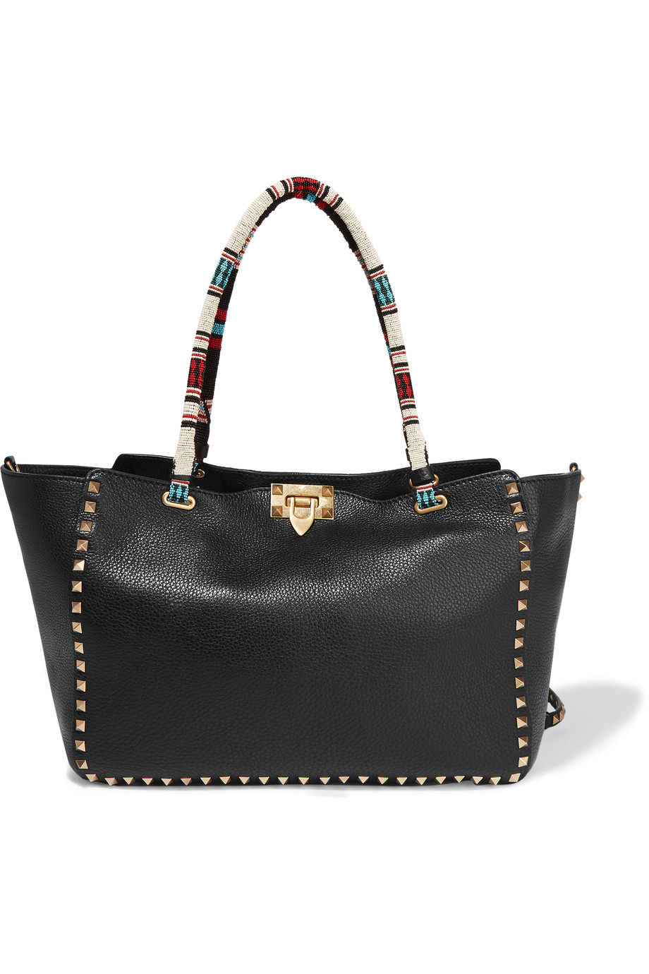 Valentino The Rockstud Beaded Textured-Leather Tote, Black, Women's