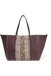 The Rockstud medium embellished textured-leather tote