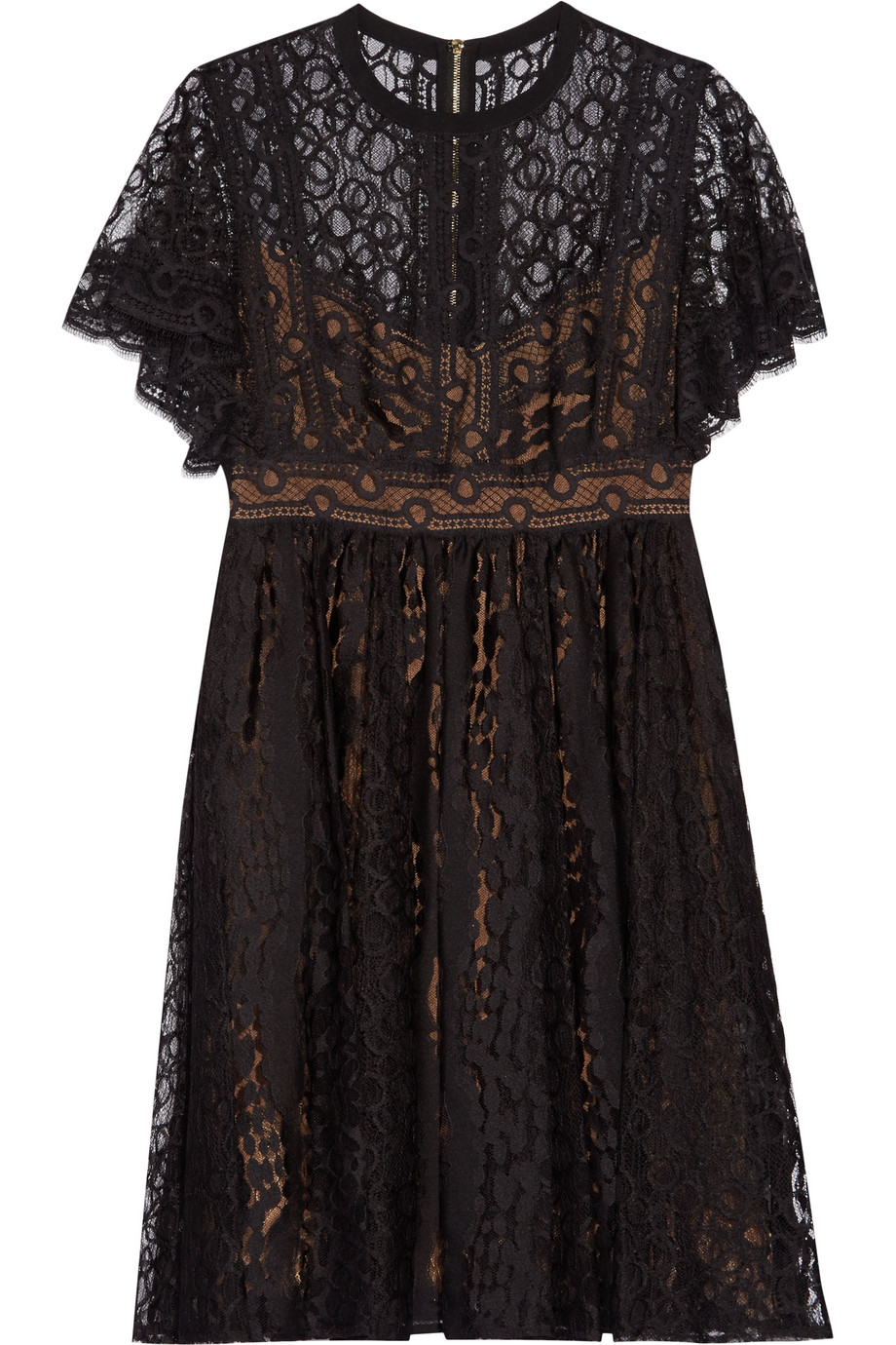 Elie Saab Guipure Lace Mini Dress, Black, Women's, Size: 40
