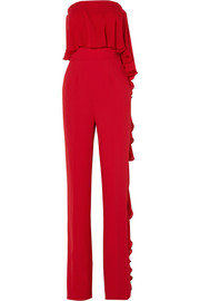 Strapless ruffled silk-blend crepe jumpsuit