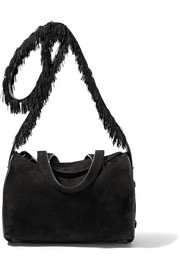 Drum fringed textured leather-trimmed suede shoulder bag