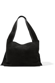 Duplex tasseled suede shoulder bag