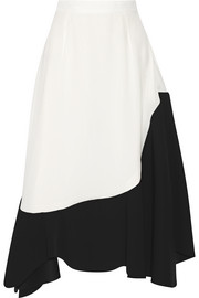 Paneled crepe de chine skirt