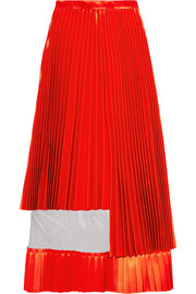 Tulle-paneled pleated satin midi skirt