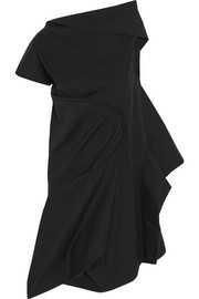 Asymmetric draped cotton mini dress