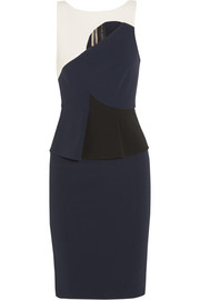 Clarence cutout stretch-crepe peplum dress