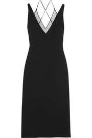 Roland Mouret Shannon embroidered tulle-paneled stretch-crepe midi dress