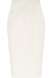 Roland Mouret Arreton lattice-weave and crepe pencil skirt