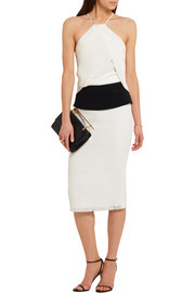 Arreton lattice-weave and crepe pencil skirt