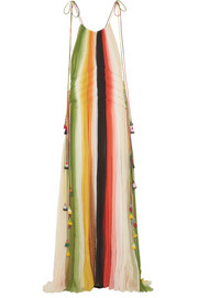 Tasseled striped silk-crepon gown