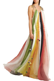 Chloé Tasseled striped silk-crepon gown