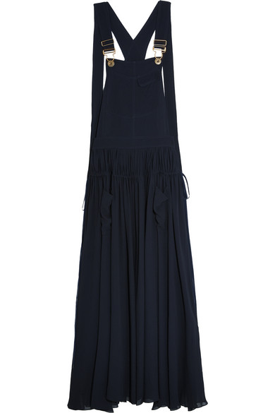 Chloé - Ruched Crepe Maxi Dress - Midnight blue