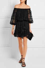 Chloé Off-the-shoulder cotton-blend lace mini dress