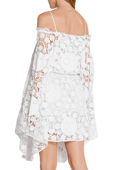 f8a7948029e Off-the-shoulder crocheted cotton mini dress.  3