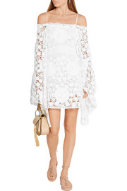 Chloé Off-the-shoulder crocheted cotton mini dress