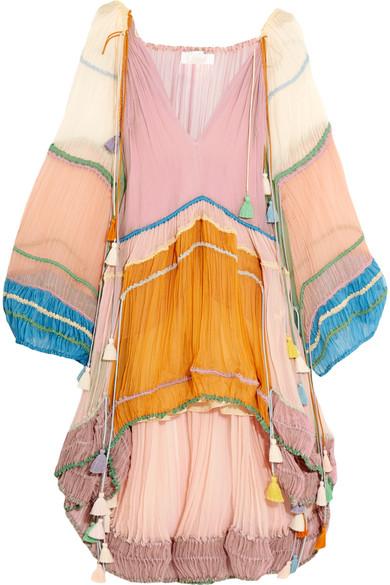 Chloé - Tasseled Silk-crepon Mini Dress - Lilac