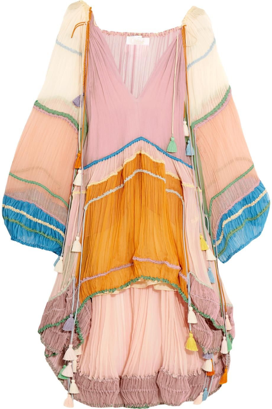 Chloé Tasseled Silk-Crepon Mini Dress, Size: 40