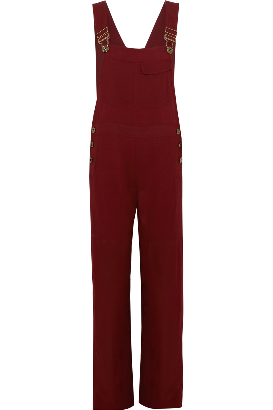 Chloé Crepe Overalls, Burgundy, Women's, Size: 34