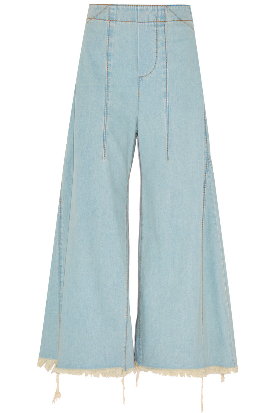 Chloé Distressed Mid-Rise Flared Jeans, Size: 34