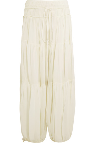 Chloé - Tiered Crepe Wide-leg Pants - Ivory